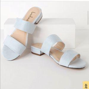 Light Blue Suede Slide Sandals